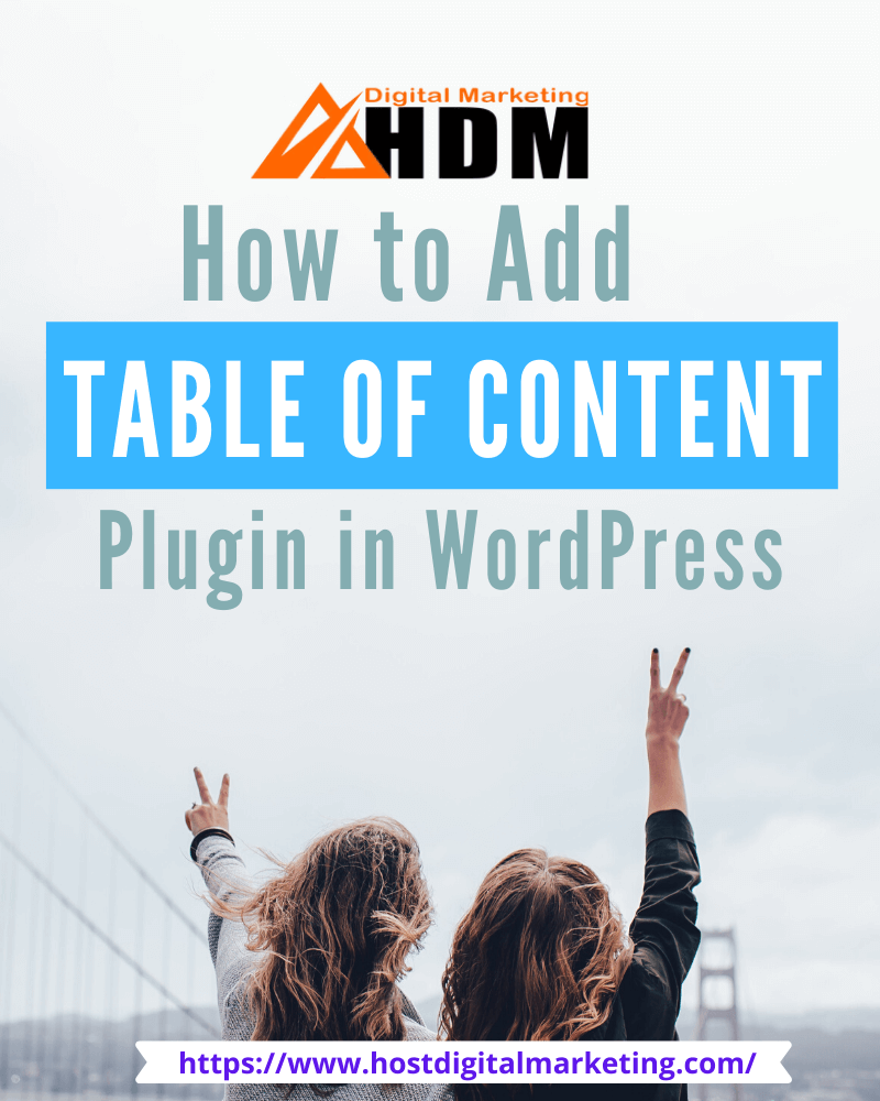 Infographic on How to Add Free Table of Content WordPress Plugin 2020 HDM