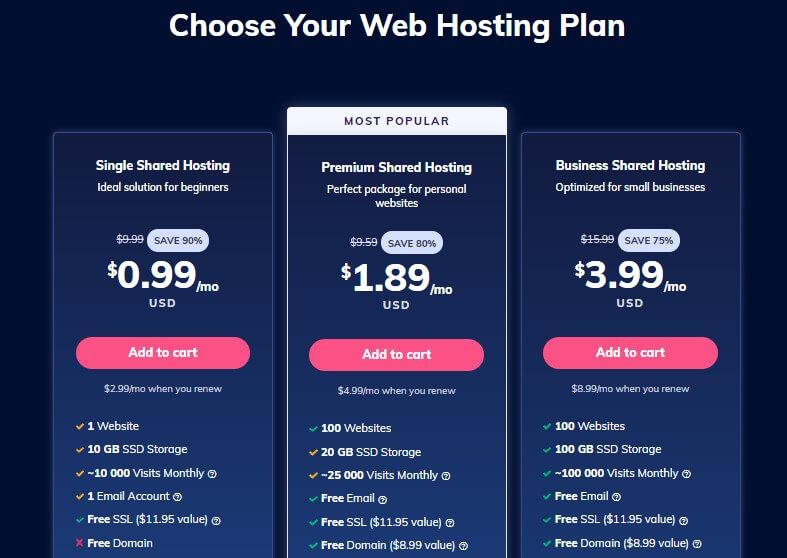 Hostinger Shared Web Hosting Plan