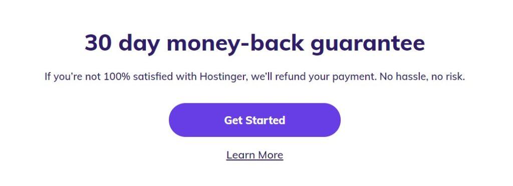 Hostinger Web Hosting money back guarantee