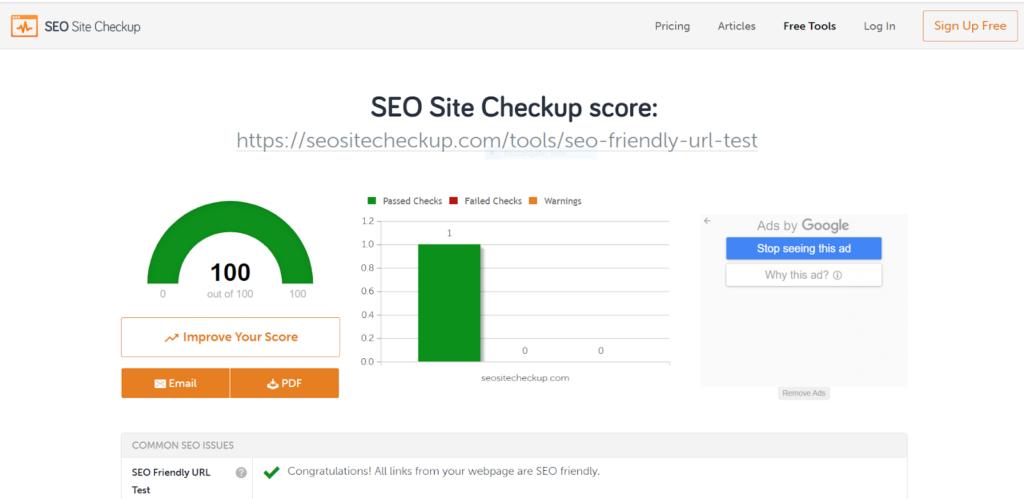 SEO friendly Slug - Seositecheckup Tool Overview